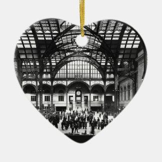 De Vintage Spoorweg van de Stad van New York van Keramisch Hart Ornament