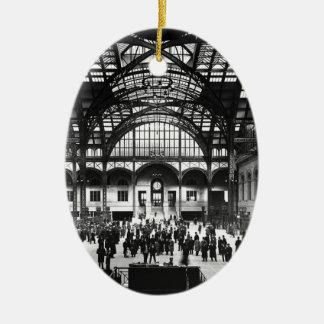 De Vintage Spoorweg van de Stad van New York van Keramisch Ovaal Ornament