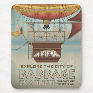 De vintage Stad van de Reis van Luchtschip Babbage Muismat