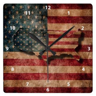 De vintage Sterren van Grunge de V.S. & de Vlag en Vierkante Klok