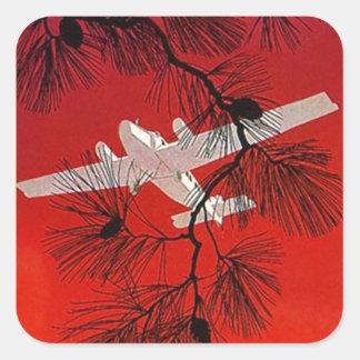 De vintage Steun FW Wht van het Vliegtuig van het Vierkant Stickers