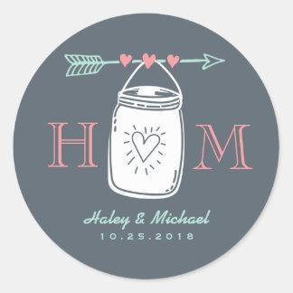 De vintage Sticker van het Huwelijk van het