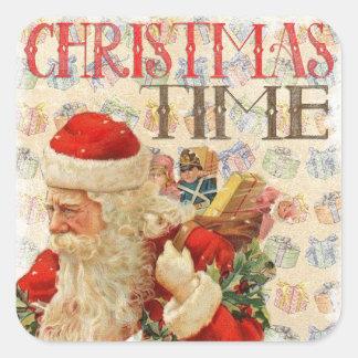 De vintage Stickers van de Kerstman van Kerstmis