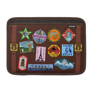 De vintage Stickers van de Koffer van de Reis van MacBook Air Beschermhoes