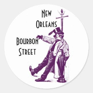 De vintage Straat New Orleans van de Bourbon van Ronde Sticker
