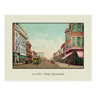 De vintage Straat van 1905 J, Sacramento, Cal. Briefkaart