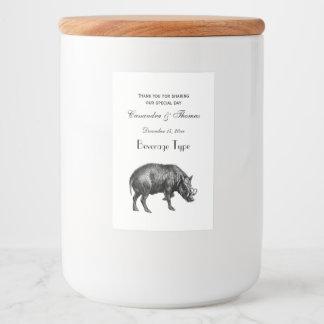 De vintage Tekening BW van het Everzwijn Voedselcontainer Etiket