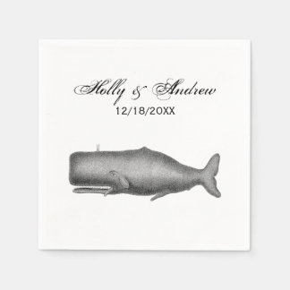 De vintage Tekening van de Walvis van de 19de Eeuw Wegwerp Servetten