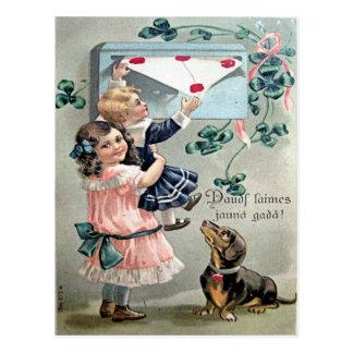 De vintage Tekkel van Valentijn Briefkaart