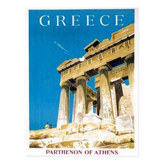 De vintage Tempel van Athene Griekenland Parthenon Briefkaart