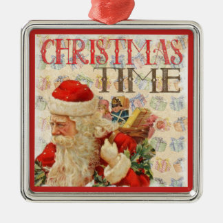 De vintage Tijd de Kerstman van Kerstmis Zilverkleurig Vierkant Ornament