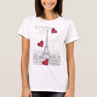 De vintage Toren van Eiffel - rode harten T Shirt