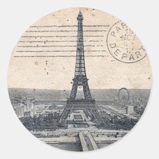 De vintage Toren van Eiffel Ronde Sticker