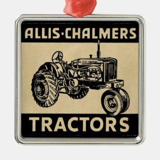 De vintage Tractor van het Boerderij Zilverkleurig Vierkant Ornament