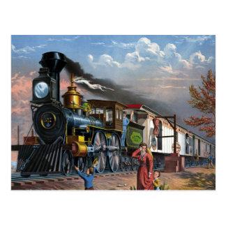 De vintage Trein van de Stoom bij de illustratie Briefkaart