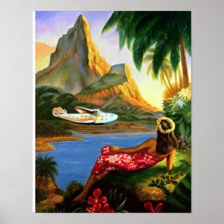 De vintage Tropische Hawaiiaanse Palm van het Poster
