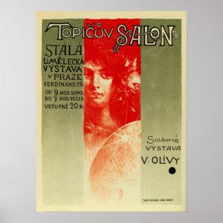 De vintage Tsjechische salon Expo Praag van de Poster