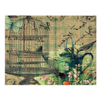 De vintage Tuin w/Bird & Birdcage van de Collage Briefkaart