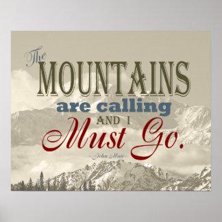 De vintage Typografie de bergen roept; Muir Poster