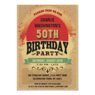 de Vintage Typografie Grunge van de 50ste 12,7x17,8 Uitnodiging Kaart