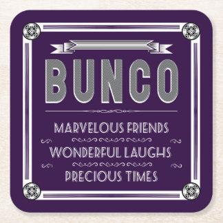 De Vintage Typografie van Bunco Vierkante Onderzetter
