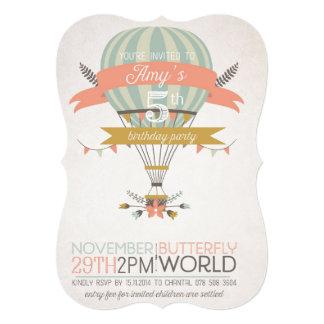 De vintage uitnodiging van de hete luchtballon