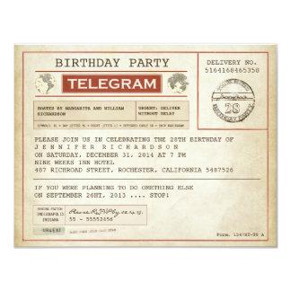 de vintage uitnodiging van het verjaardagstelegram