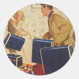 De vintage Vakantie van de Familie, de Koffers van Ronde Sticker