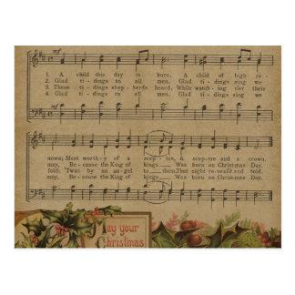 De vintage Vakantie van het Blad van de Muziek van Briefkaart