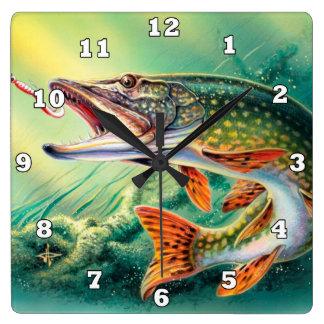 De vintage van het de minnaarshuis van Vissen klok Vierkante Klok