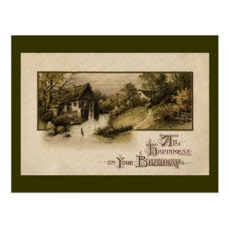 De Vintage Verjaardag van het Waterrad van de Briefkaart