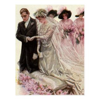 De vintage Victoriaans Ceremonie van het Huwelijk, Wenskaart