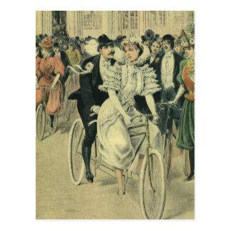 De vintage Victoriaans Fiets van Newyweds van de Briefkaart