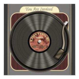 De vintage VinylUitnodigingen van de Partij van 13,3x13,3 Vierkante Uitnodiging Kaart