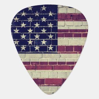 De vintage vlag van Amerika op een bakstenen muur Gitaar Plectrum