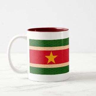 De vintage Vlag van de Surinamer van het Patroon Tweekleurige Koffiemok