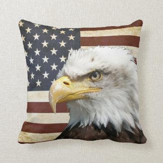 De vintage Vlag van de V.S. de V.S. met Amerikaans Sierkussen