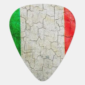 De vintage vlag van Italië op een bakstenen muur Gitaar Plectrum