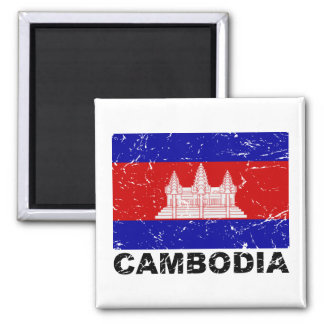 De Vintage Vlag van Kambodja Magneten