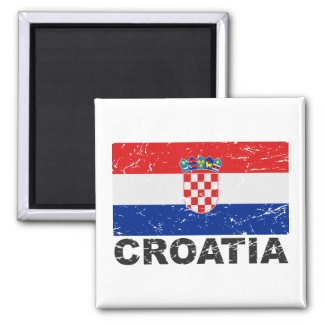 De Vintage Vlag van Kroatië Vierkante Magneet