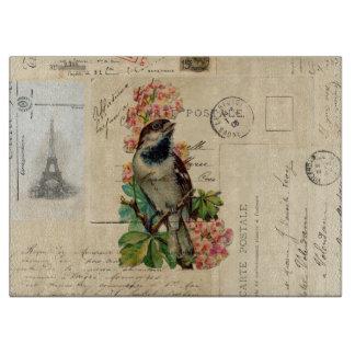 De vintage Vogel bloeit Franse Briefkaarten Snijplank