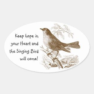 De vintage Vogel houdt Hoop in uw Ovale Stickers