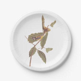 De vintage Vogel van de Grasmus van de Magnolia Papieren Bordje
