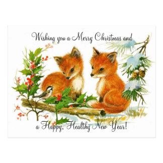De vintage vossen van Kerstmis Briefkaart