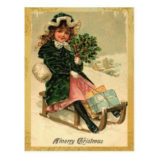 De vintage Vrolijke Briefkaarten van Kerstmis Briefkaart
