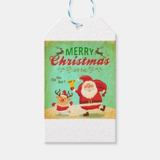 De vintage Vrolijke Kerstman en het Rendier van Cadeaulabel