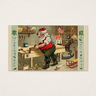 De vintage Workshop van Kerstmis van de Kerstman Visitekaartjes