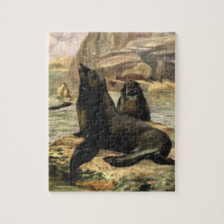 De vintage Zeeleeuwen van Californië door de Zwaan Legpuzzel