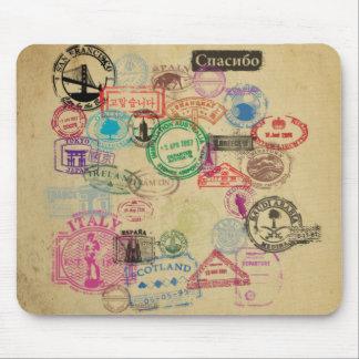 De vintage Zegels van het Paspoort Muismat