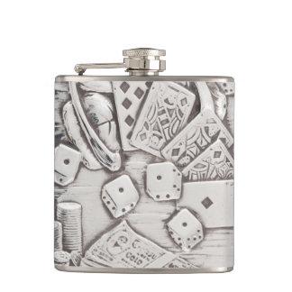 De vintage Zilveren het Gokken Kaarten van de Pook Heupfles